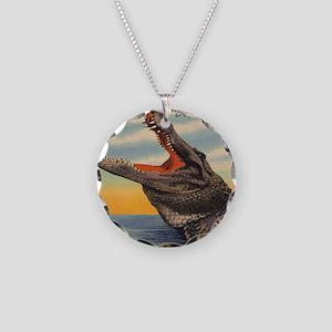 Vintage Alligator Postcard Necklace Circle Charm