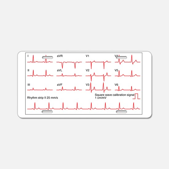 ECGs of a normal heart rate Aluminum License Plate