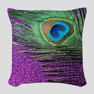 Glittery Purple Peacock Queen Woven Throw Pillow
