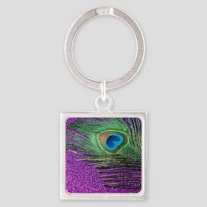 Glittery Purple Peacock Queen Square Keychain