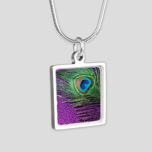 Glittery Purple Peacock Qu Silver Square Necklace
