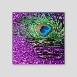 """Glittery Purple Peacock Que Square Sticker 3"""" x 3"""""""