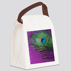 Glittery Purple Peacock Queen Canvas Lunch Bag