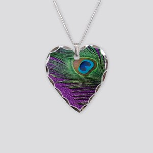 Glittery Purple Peacock Queen Necklace Heart Charm