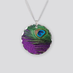 Glittery Purple Peacock Quee Necklace Circle Charm