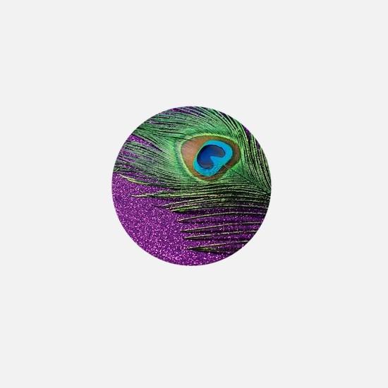 Glittery Purple Peacock Queen Mini Button