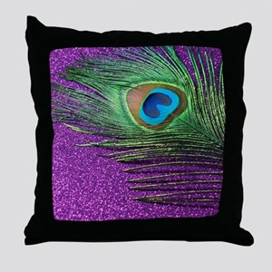 Glittery Purple Peacock Queen Throw Pillow