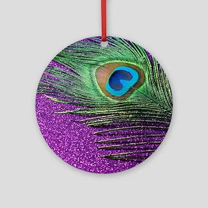 Glittery Purple Peacock Queen Round Ornament