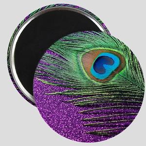 Glittery Purple Peacock Queen Magnet