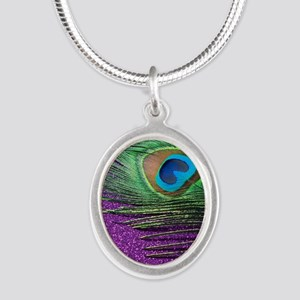 Glittery Purple Peacock Queen Silver Oval Necklace