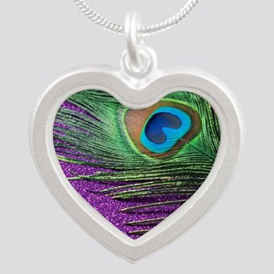 Glittery Purple Peacock Quee Silver Heart Necklace