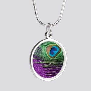 Glittery Purple Peacock Quee Silver Round Necklace
