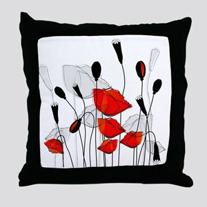 Beautiful Red Poppies Throw Pillow