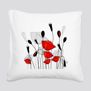 Beautiful Red Poppies Square Canvas Pillow
