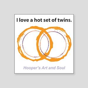 "Hot Twins Square Sticker 3"" x 3"""