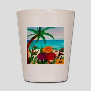 Tropical Floral Beach Shot Glass