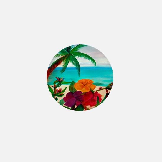 Tropical Floral Beach Mini Button