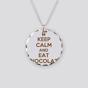 Keep Calm and Eat Chocolate Necklace Circle Charm