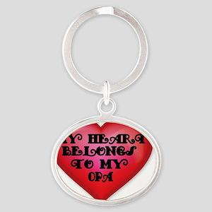 My Heart belongs to my Opa Oval Keychain