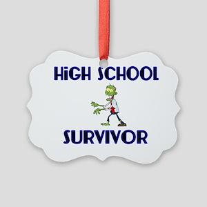 High School Survivor-Zombie-blue Picture Ornament