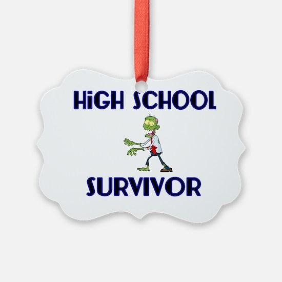 High School Survivor-Zombie-blue Ornament