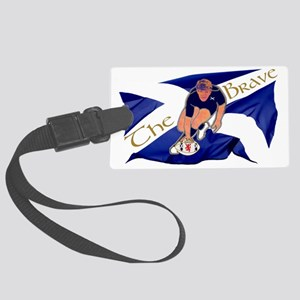Scotland style rugby player brav Large Luggage Tag