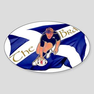 Scotland style rugby player brave g Sticker (Oval)