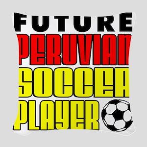 Future Peruvian Soccer Player Woven Throw Pillow