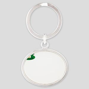 tallLeprech1B Oval Keychain