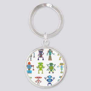 Robots by Phil Atherton Round Keychain