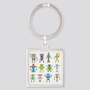 Robots by Phil Atherton Square Keychain