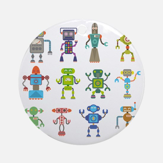 Robots by Phil Atherton Round Ornament