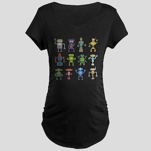 Robots by Phil Atherton Maternity Dark T-Shirt