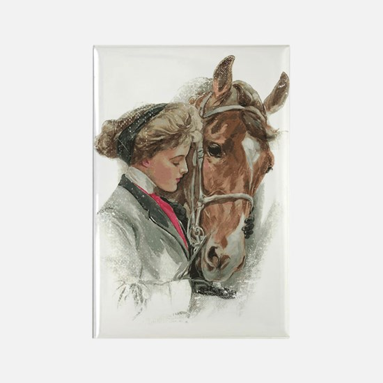 Vintage Girl And Horse Rectangle Magnet
