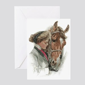 Vintage Girl And Horse Greeting Card