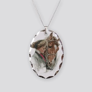 Vintage Girl And Horse Necklace Oval Charm