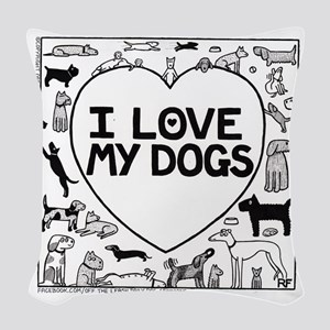 I Love My Dogs Woven Throw Pillow