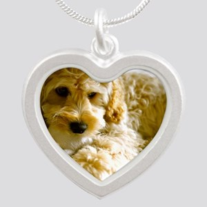 The Cockapoo Puppy Silver Heart Necklace