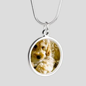 The Cockapoo Puppy Silver Round Necklace
