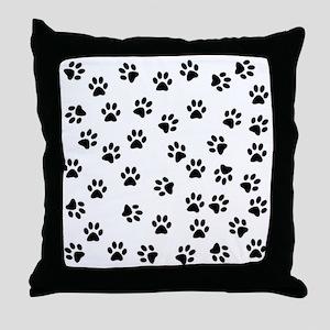 BLACK PAW PRINTS Throw Pillow