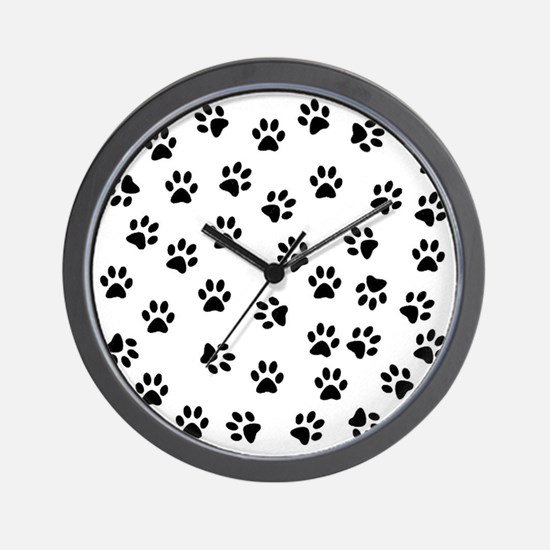 BLACK PAW PRINTS Wall Clock