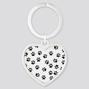 BLACK PAW PRINTS Heart Keychain