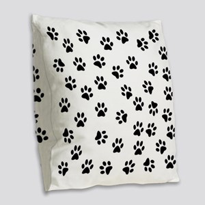 BLACK PAW PRINTS Burlap Throw Pillow