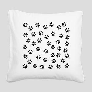 BLACK PAW PRINTS Square Canvas Pillow