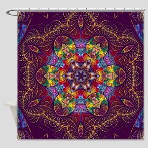 Fractal E-Splits Kaleidoscope Large Shower Curtain