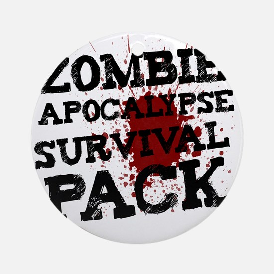 Zombie Apocalypse Survival Pack Round Ornament