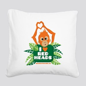 I Love (heart) Red ... Square Canvas Pillow