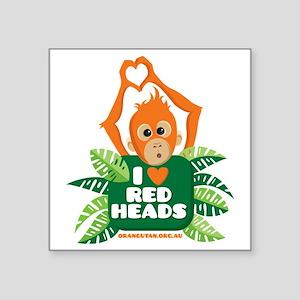 "I Love (heart) Red ... Square Sticker 3"" x 3"""