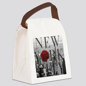 NY Skyline Rose Canvas Lunch Bag