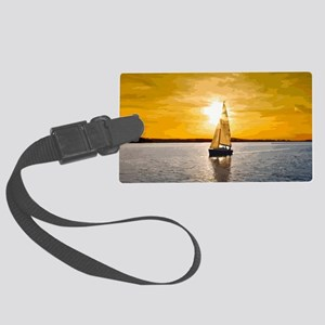 Sailing into the sunset Large Luggage Tag